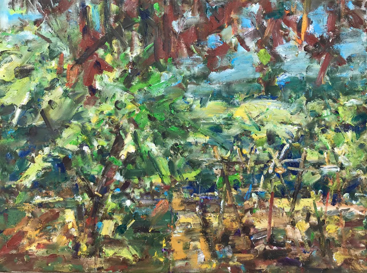 Garden view.  (April 2020) Oil on canvas
