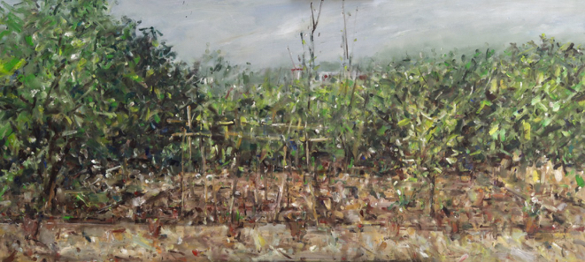 Garden, panoramic view. (March 2020) Oil on canvas