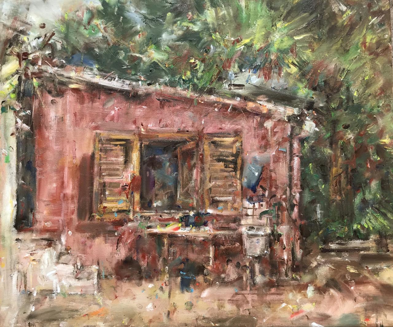 My studio.  (April 2020) Oil on canvas