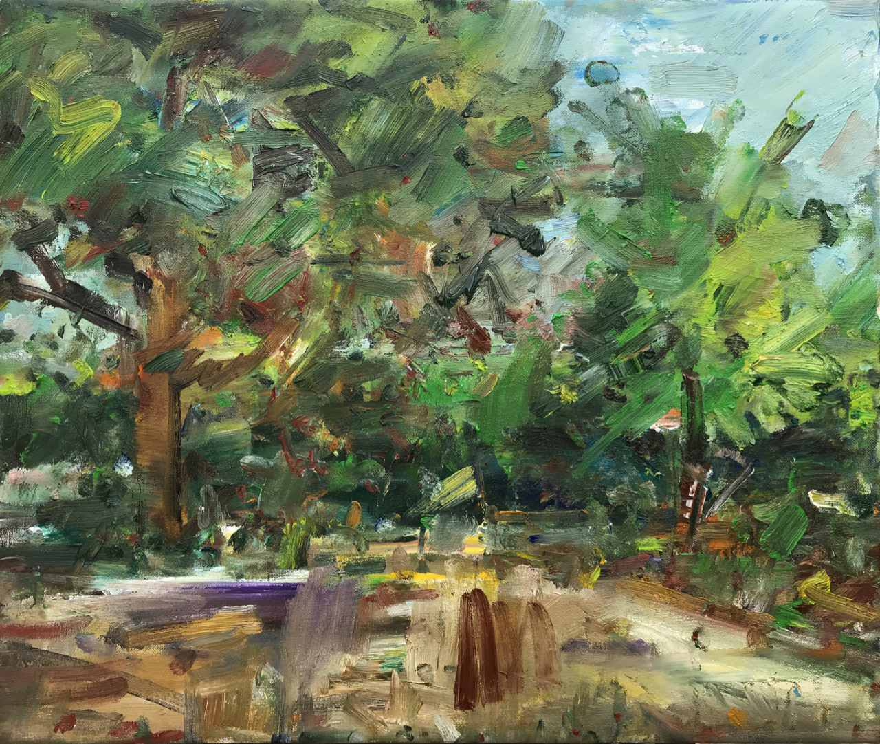 Garden view with 2 trees.  (April 2020) Oil on canvas