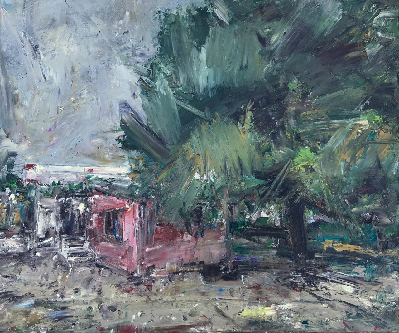 My studio under the pine tree. (April 2020) Oil on wood