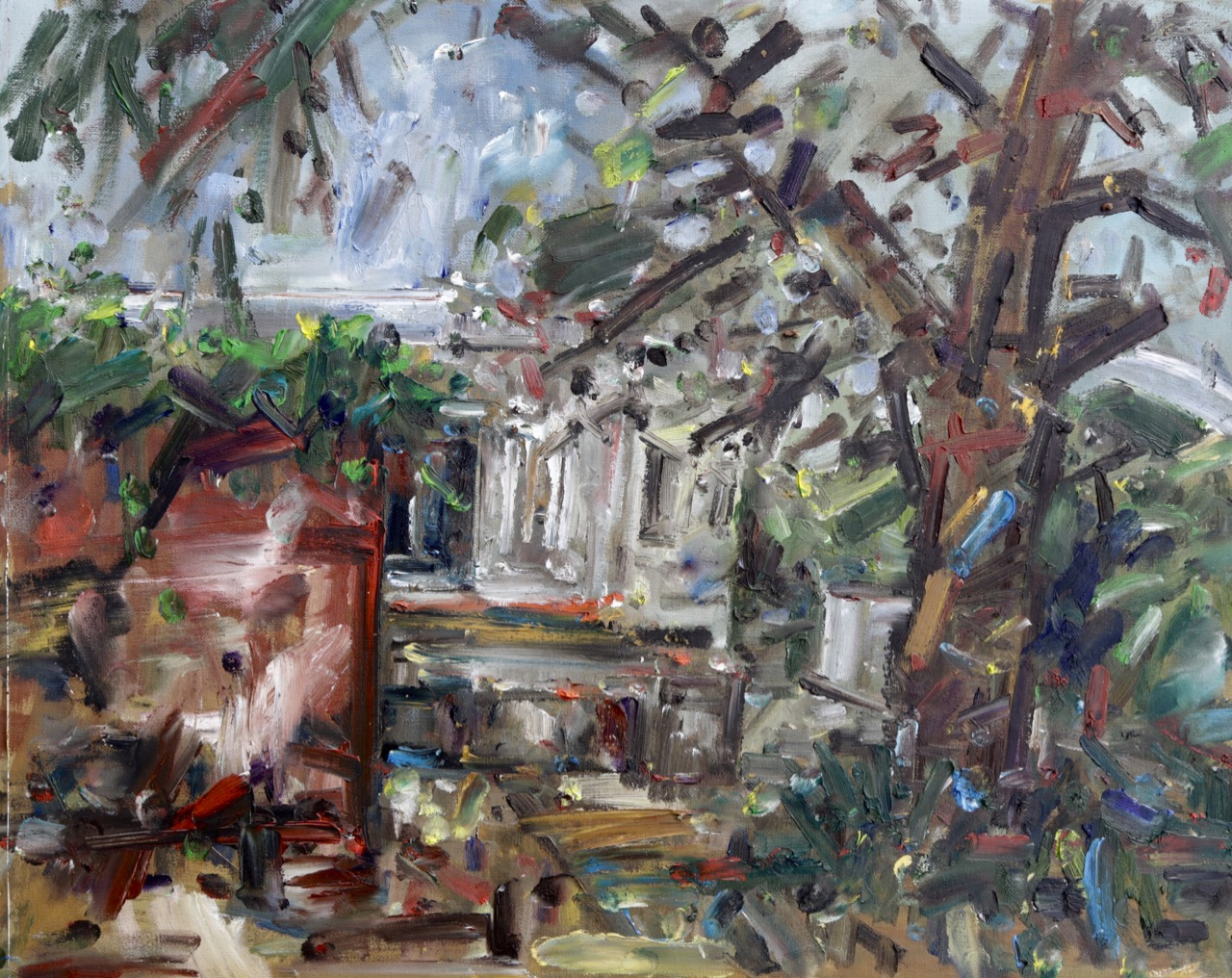 My house, between studio and pine tree (May 2020) Oil on canvas